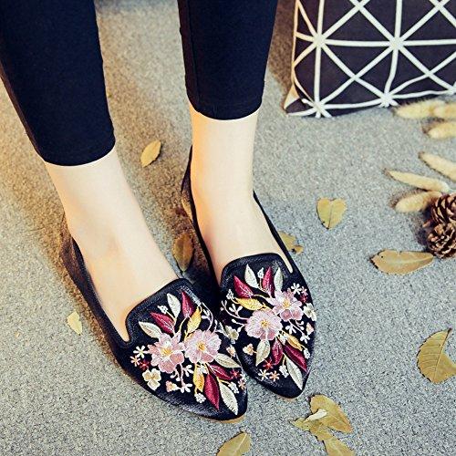 Talon Floral Sk Flats Floraux Jane Chaussures Mary Main Chinois Plat Noir Mocassins Femmes Femmes Studio Broderie Bas ZxPpgZ