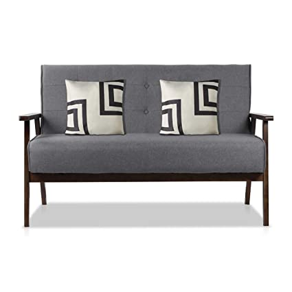 Amazon.com: AODAILIHB Modern Fabric Upholstered Wooden 2-Seat Sofa ...