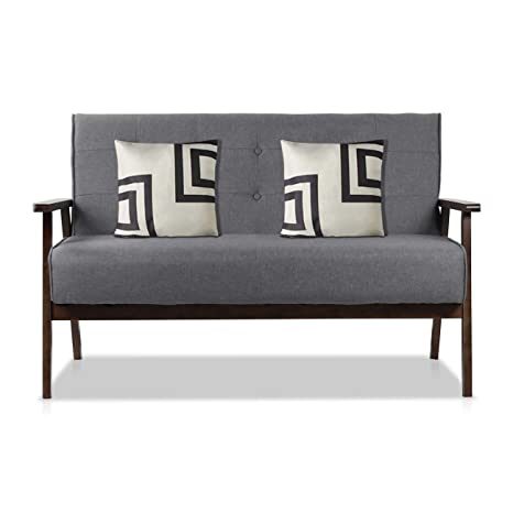 AODAILIHB Modern Fabric Upholstered Wooden 2-Seat Sofa, Sleek Minimalist Loveseat, Sturdy and Durable Double Sofa. Gift 2 Pillowcases (Grey)