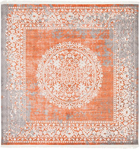 - Unique Loom New Classical Collection Traditional Distressed Vintage Classic Terracotta Square Rug (8' 0 x 8' 0)