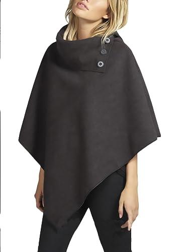 Mujer Ponchos De Paño Invierno Otoño Elegante Vintage Pullover Color Sólido Cuello Alto Asimetricas Con Botón Anchas Grande Capas Poncho Calentar Grueso Moda Joven Tops Manto Abrigos