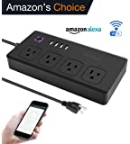 Wifi Smart Power Strip, Tonbux Surge Protector with 4 USB Charging Ports and 4 Smart AC Plugs for Multi Outlets Power Socket Extension Cord, Voice Controlled by Amazon Echo & Google Home, Black