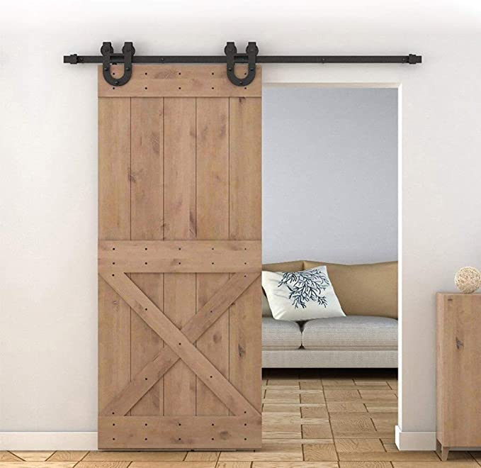 GWXFHT Herraje para Puerta Corredera Kit Kit de Hardware de riel Colgante de Puerta de Granero de 100-240 cm, Polea de Herradura Carril de Puerta corredera (Size : 220cm Single Door Kit):