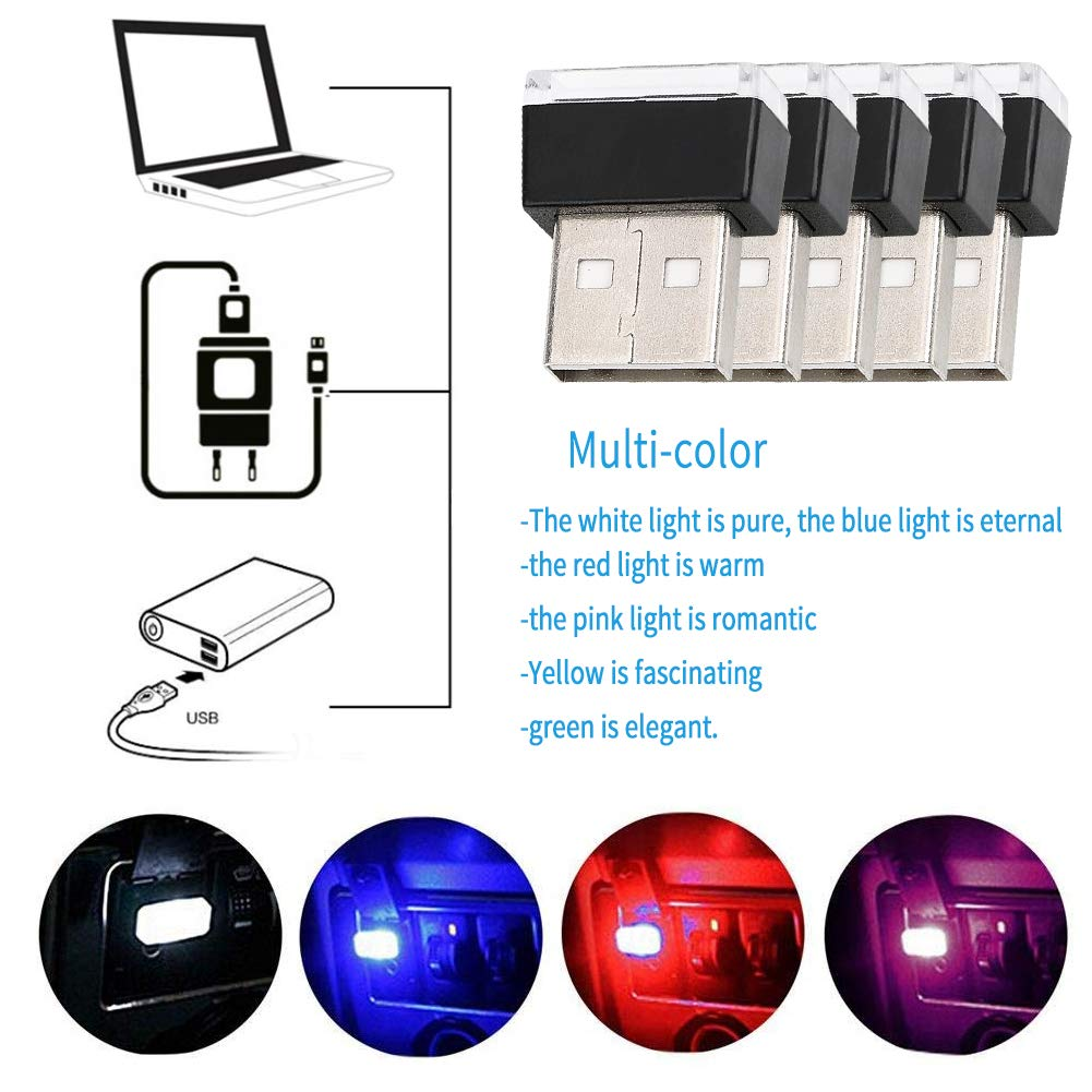 WENTS 6PCS Auto Luci Interne Atmosfera USB Car Interior Ambient Lampade a Led,Luce Decorativa USB Illuminazione,Mini USB Interni Auto Luce Led Universale Per Auto Notebook Power Bank