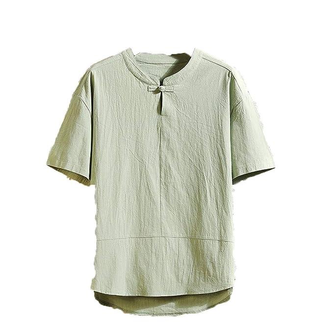 Amazon.com: Camisa de lino de verano para hombre, manga ...