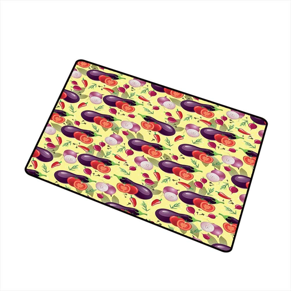 Eggplant Commercial Grade Entrance mat Eggplant Tomato Relish Onion Going Green Eating Organic Tasty Preserve Nature for entrances garages patios W23.6 x L35.4 Inch Multicolor by RelaxBear