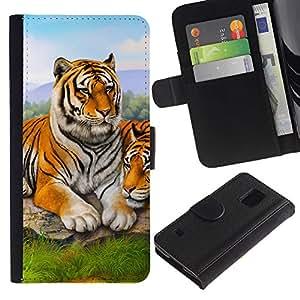 Billetera de Cuero Caso Titular de la tarjeta Carcasa Funda para Samsung Galaxy S5 V SM-G900 / Tiger Cute Painting Animal Nature Africa / STRONG