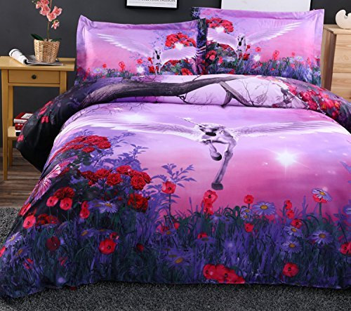 Flying Unicorn 3D Bedding Sets Purple Duvet Cover Sets Bedspread Comforter  Cover Bedding Sets ,Flat Sheet, Shams Set 4Pieces,4 Pcs For Adult Kids  Teenage ...