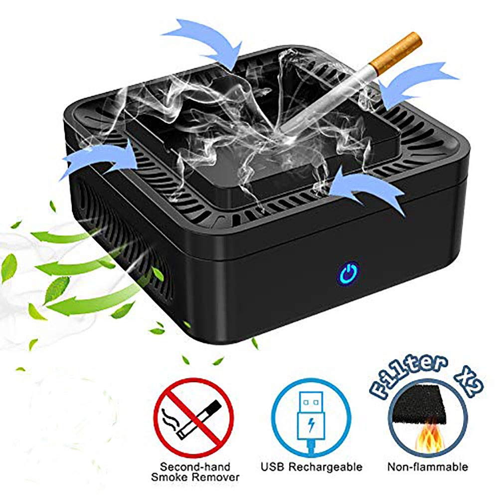 GoStar Smokeless Ashtray Air Purifier Multifunctional Negative Ion Air Fresher Odor Secondhand Smoke Remover USB Rechargeable for Car/Indoor/Outdoor- 2 Pcs Filter Included. by GoStar
