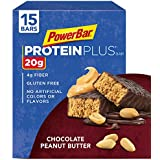 PowerBar Protein Plus Bar, Chocolate Peanut Butter, 2.12 oz Bar, (15 Count)