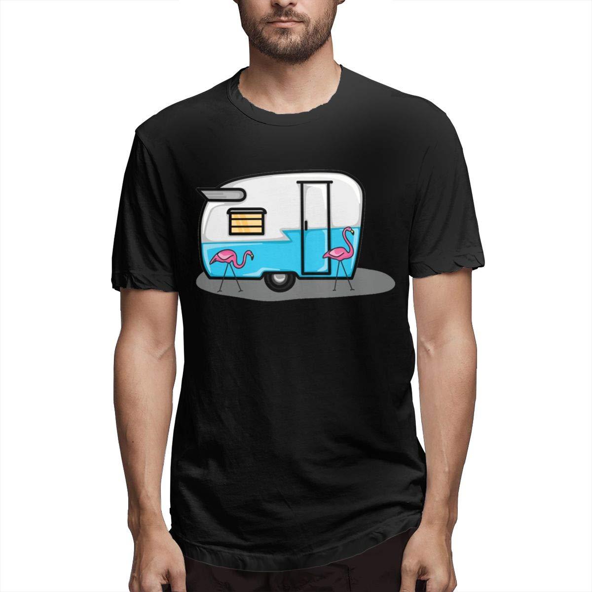 LANBRELLA Mens Retro Blue Flamingo Campers Sport Crew-Neck Short Sleeve T Shirts for Mens