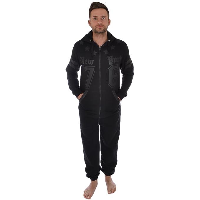 Soul Star - Pijama de una Pieza - para Hombre Negro Negro Medium