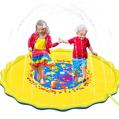 Splash Pad, 69 Inches No More Burst Sprinkle and Splash Play Mat Sprinkler for Kids Boys Girls Fun Splash Play Mat Summer Outdoor Sprinkler Pad Party Water Toys Extra Large Children's Sprinkler Pool: Health & Personal Care