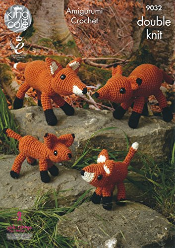 King Cole Amigurumi Crochet Double Knitting Merino DK Pattern - The Fox Family Toys