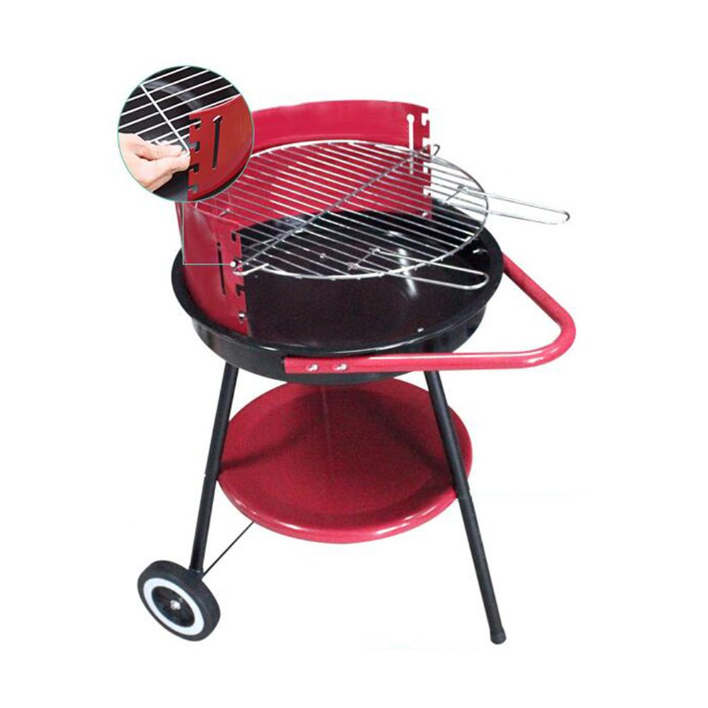 ZZ-aini Redonda Barbacoa de Carbón Acero Inoxidable, Portátil Camping BBQ Picnic Party Sobremesa Parrillas Barbecue-Rojo 60X75X39cm