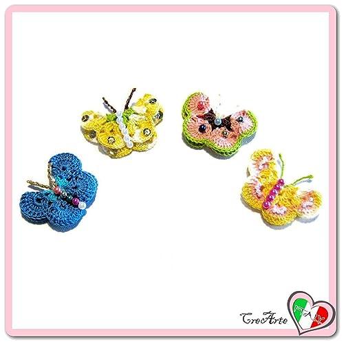 Set 4 mariposas de colores para aplicaciones, broches o ...