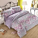 wiwanshop 3 Or 4pcs Purple Rose Flower Reactive Print Polyester Fiber Bedding Sets ( Full Size )