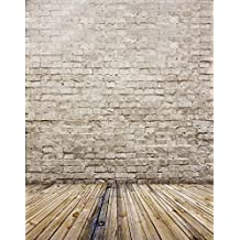 5x7ft White Brick Wall Wooden Floor Photography Background Computer-Printed Vinyl Backdrops