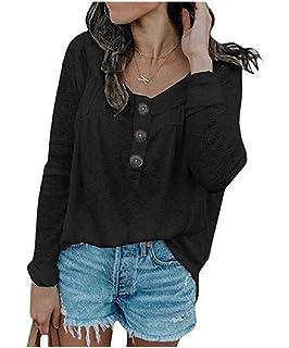 Yayu Womens Knit Tunic Tops Long Sleeve V Neck Henley T Shirt