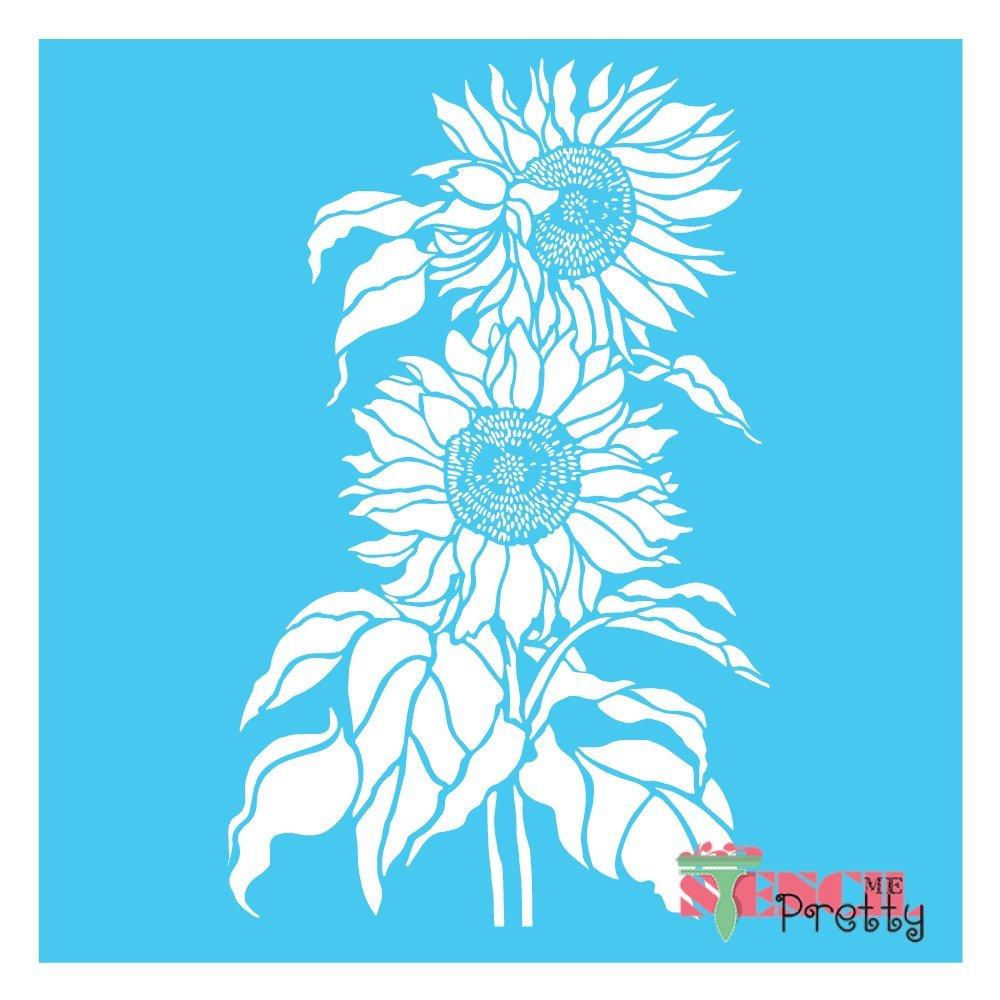 Sunflower Duo - DIY Craft Stencil -Multipack (L, XL, MG) by Stencil Me Pretty (Image #1)