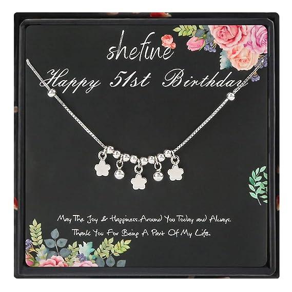 51 cumpleaños regalos para mujer - Pulsera de plata de ley ...