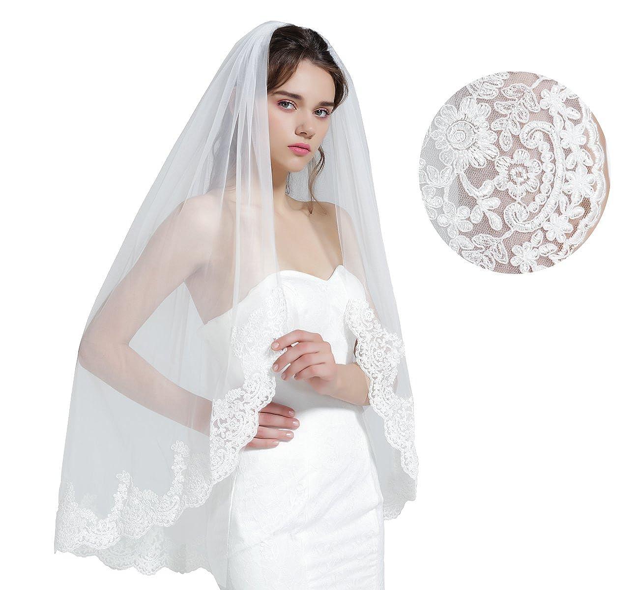 Wedding Bridal Veil With Comb 1 Tier Lace Applique Edge Fingertip