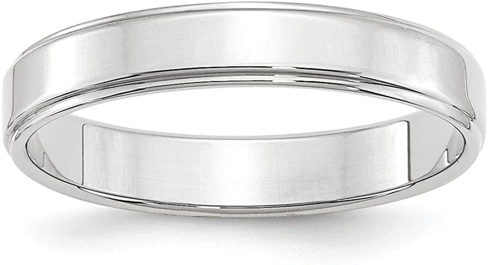 10K White Gold 4mm Flat with Step Edge Band Ring