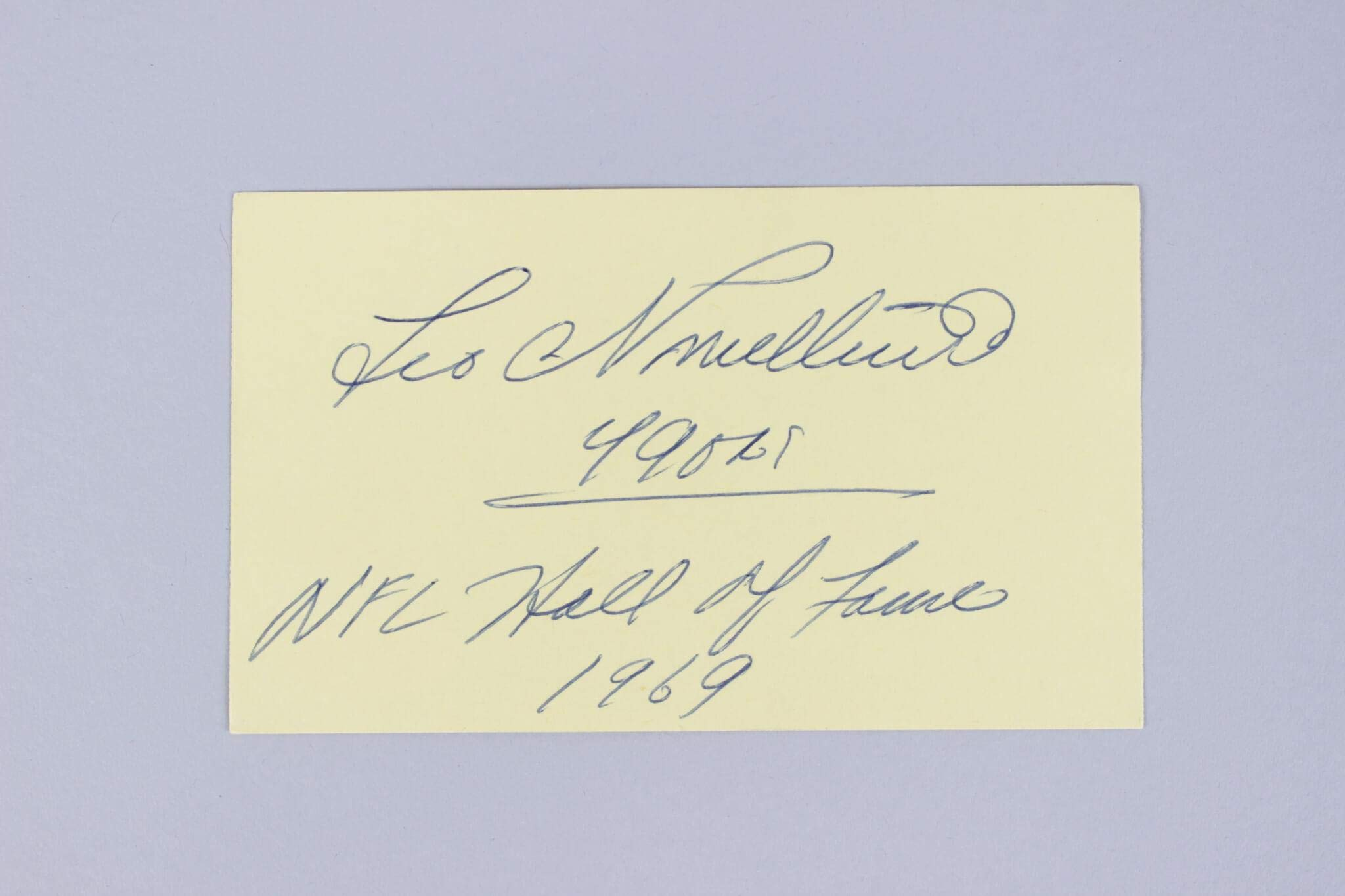 Leo Nomellini Signed Index Card 49ers COA JSA Certified NFL Cut Signatures