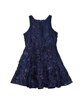 a3a21d54 Nanette Lepore Kids Girl's Soutache Mesh Dress (Little Kids/Big Kids) Navy  Medium