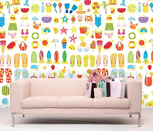 Large Wall Mural Summer Vacation Element Vinyl Wallpaper Removable Decorating