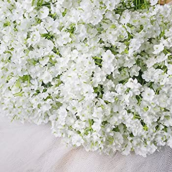 Amazon shine co artificial baby breath 10 pcs white flowers for bringsine baby breathgypsophila wedding decoration white colour silk artificial flowers 60 pieceslot mightylinksfo