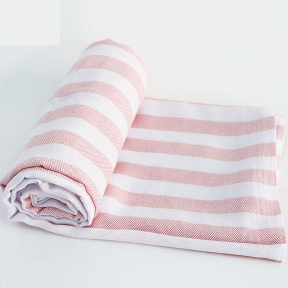 Babyhood Organic Bamboo Muslin Breathable Blankets Ultra Soft Baby Infant Receiving Blankets Pink Stripes