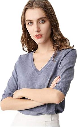 Camiseta de punto coreano con cuello en V para mujer ...