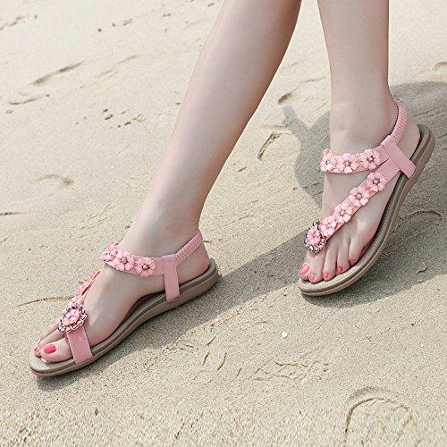 YMFIE Flores Dulces Bohemia Plana Suave Deslizamiento Abierto Sandalias de Punta de los Zapatos Ocasionales de la Playa de Vacaciones de Verano de Moda Casual Zapatos A
