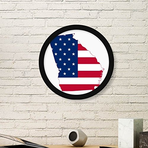 (DIYthinker Georgia The United States of America USA Map Stars and Stripes Flag Shape Round Simple Picture Frame Art Prints of Paintings Home Wall Decal)