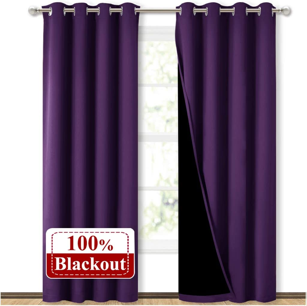 NICETOWN Truly Blackout Drapes for Living Room, Heavy-Duty Full Light Shading Curtain Set with Black Liner Backing for Villa/Hall/Dorm Window(Royal Purple, Package of 2, 52 inches W x 95 inches L