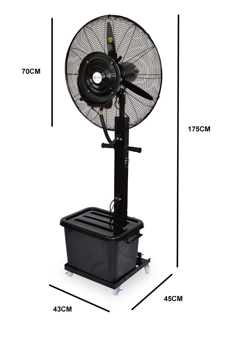 Ventilador Industrial de pie Oscilante con Nebulizador de Agua Di/ámetro 65 cm
