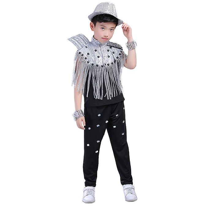 b46857251f55 Children Boys Girls Sequin Tassel Jazz Dancing Costume Hip Hop Cloting Set ( Boys Black,