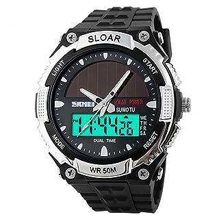 Skmei energía Solar pantalla Dual Time reloj de pulsera para hombre, 165m resistente al agua, color plateado