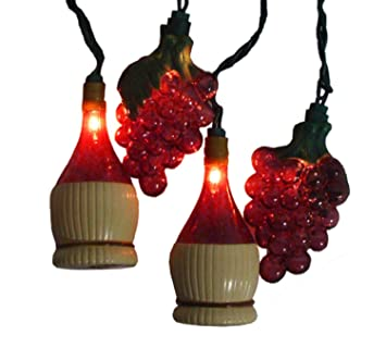 sienna set of 10 tuscan winery grape wine bottle patio christmas lights white wire