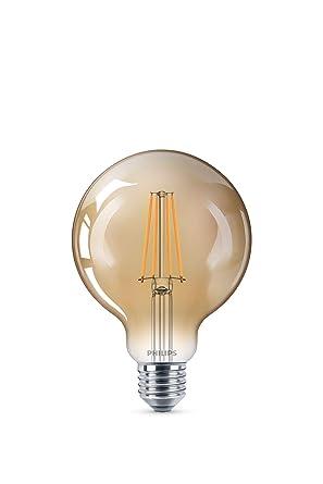 Philips bombilla LED globo de filamento efecto vintage, casquillo gordo E27, 8 W,