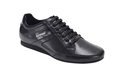 a345346616e0 Bambooa Men s Designer Low Black Loop Leather Casual Shoes Trainers (UK ...