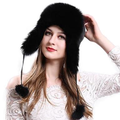 Manka Vesa Women s Real Fox Fur Hats Sheep Leather Earmuffs Warm Winter Hats  Black 044910740391