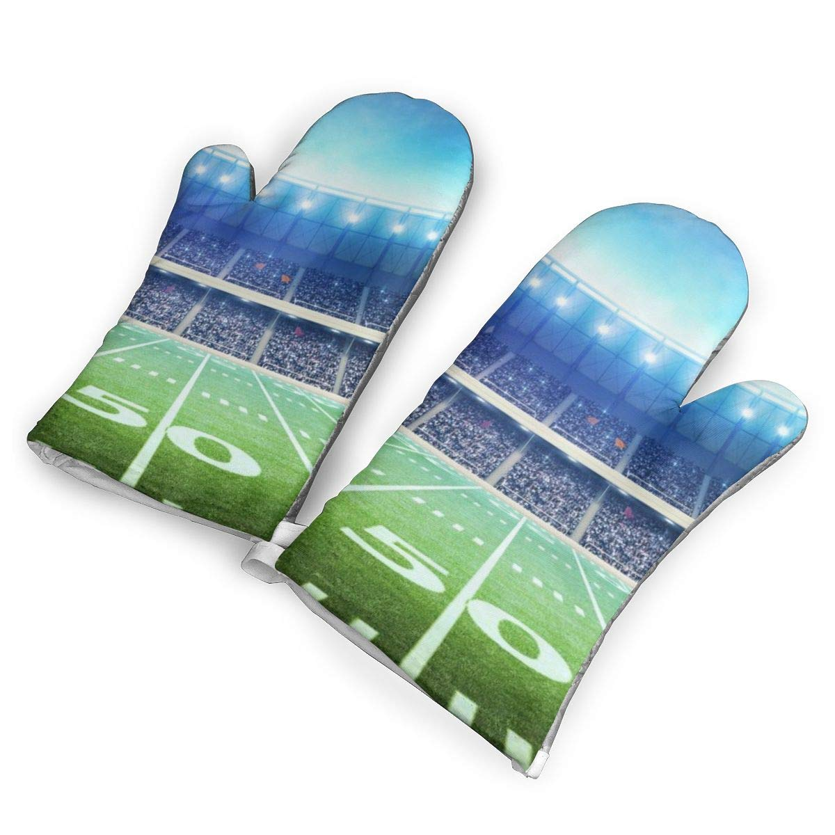 Feederm Football Sports Stadium Oven Mitts,Professional Heat Resistant Microwave Oven Insulation Thickening Gloves Baking Pot Mittens Soft Inner Lining Kitchen Cooking