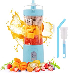 Portable Blender, 220W Personal Size Blender for Shakes and Smoothie 4000mAh USB Rechargeable with Six Blades 380ML Fruit Mini Jucier Cup, Smoothie Blender for Travel Home Office Sports
