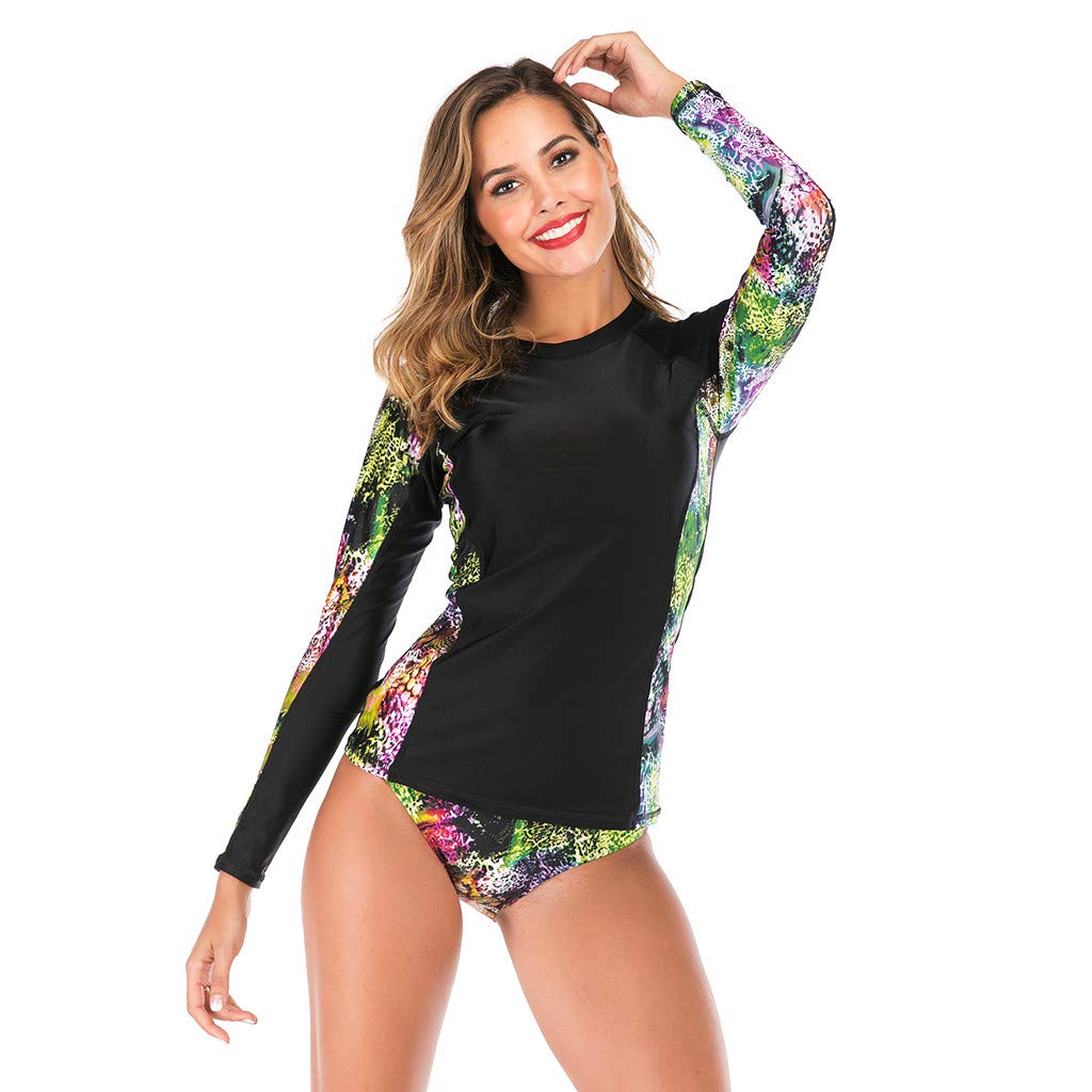 TYPEIN Women/'s Long Sleeve Rash Guard Surfing Diving UPF 50 UV Protection Printed Zipper One Piece Swimsuits