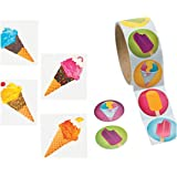 ICE CREAM - Frozen TREAT Party FAVORS - 72 TATTOOS & 100 Stickers - SUMMER Arts & Crafts - TEACHER - Daycare by fx