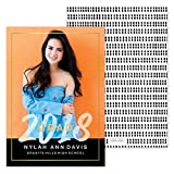 Custom Foil Border Grad 2018 Photo Personalized Graduation Announcement - Foil Accents - Minimum Quantity of 50 with white envelopes - 5 x 7, Made in the USA