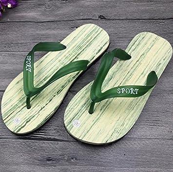 SUxian Diseño Moderno Chanclas de Verano Imitación de Madera Grano Sandalias de Hombre Chanclas Zapatillas de Playa (Color : Green, tamaño : 43): Amazon.es: ...