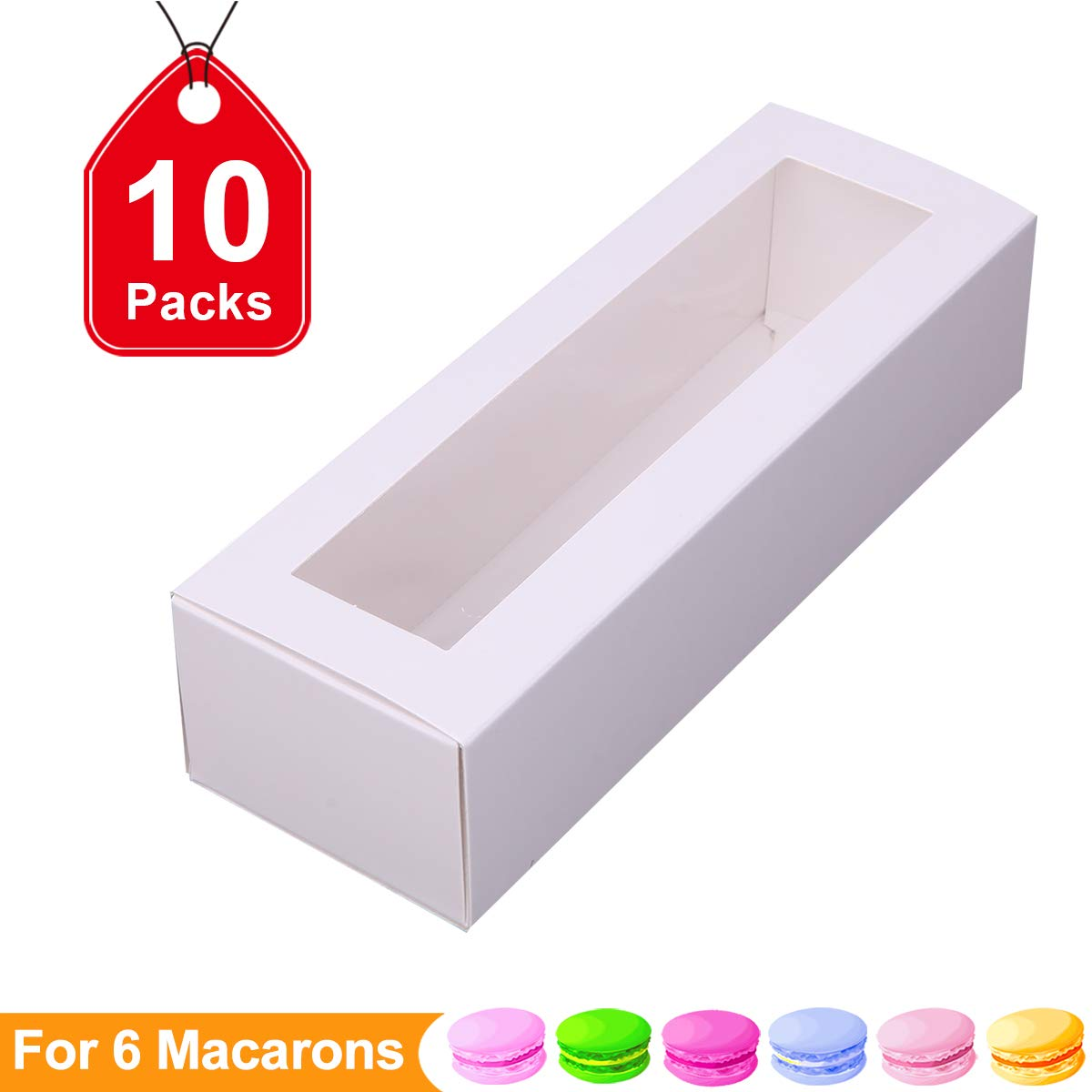 Macaron Boxes Macarons Boxes Macarons Box for 6 Macaron Container Macaroon Packaging Boxes with Clear Window (White, 10 units pack)7.3 inch × 2 inch×2 inch by PACKHOME
